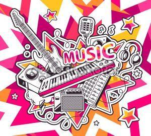 Vector illustration of red and yellow set of musical instruments on background with stars. Hand draw line art design for web, site, advertising, banner, poster, board and print.